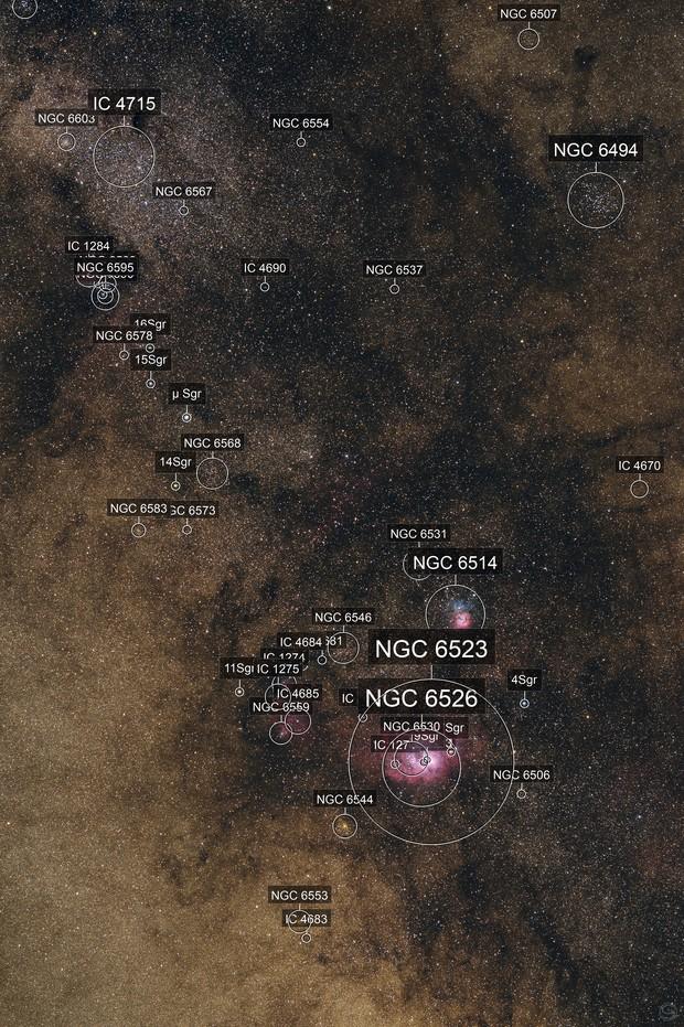 Sagittarius Widefield: M8, M20 and IC 1284