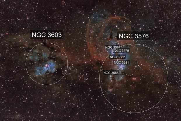 NGC3576 & NGC3603 the TorchBearer or Statue of Liberty nebula