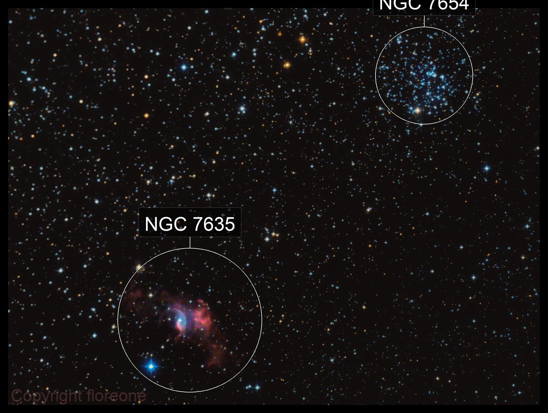 NGC 7635 ( Buble nebula) , M52 Atik version