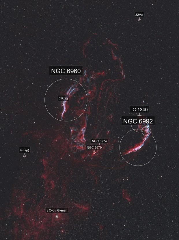 Cygnus Loop in HaOIIIRGB with Neighboring Gas Clouds
