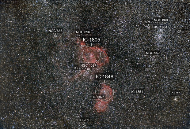 IC1805   IC1848 Heart and Soul widefield