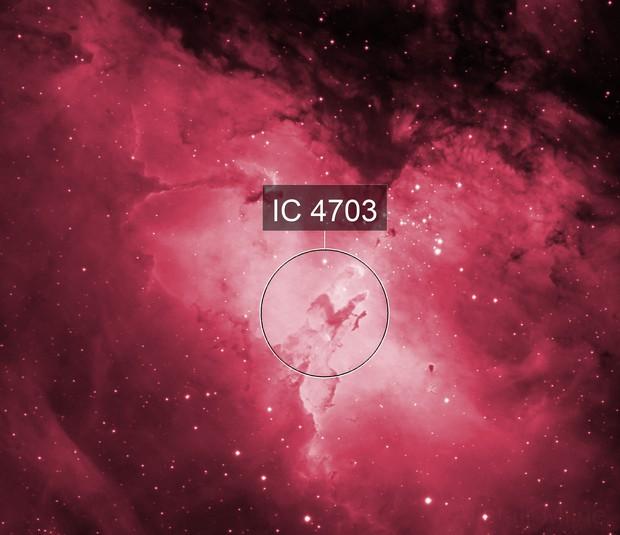 The Pillars of Creation - M16 Eagle Nebula core region in hydrogen alpha