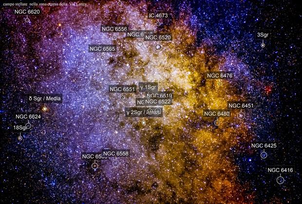 campo stellare zona sagittario verso il centro della nostra Via Lattea