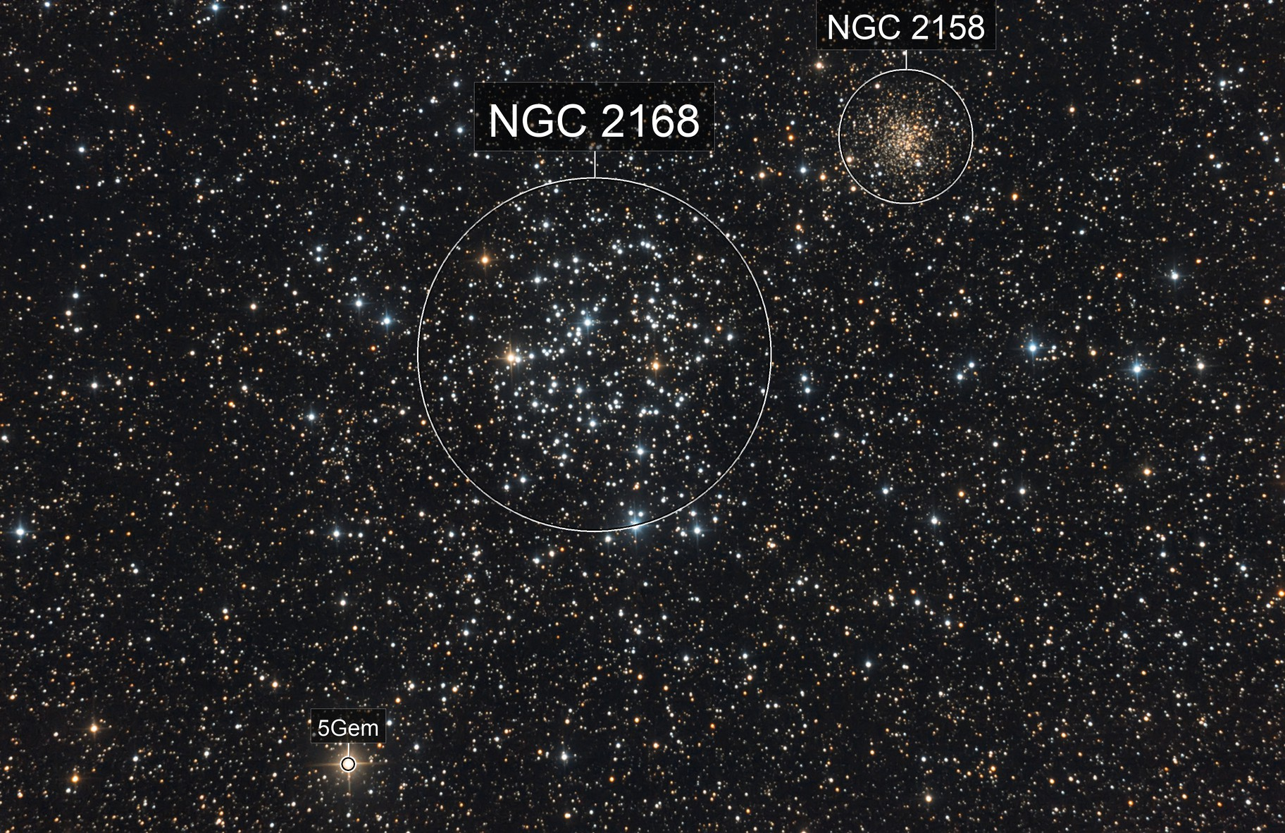 Messier 35 and NGC 2158