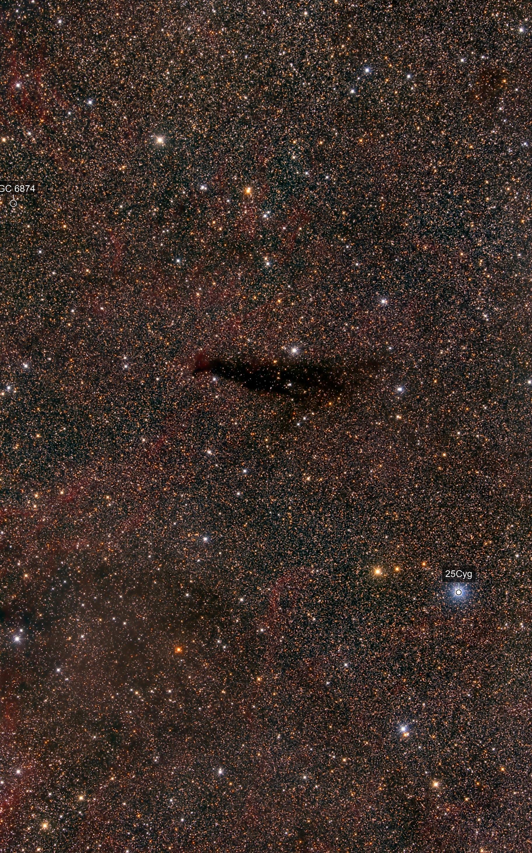 Barnard 145 dark nebula in Cygnus