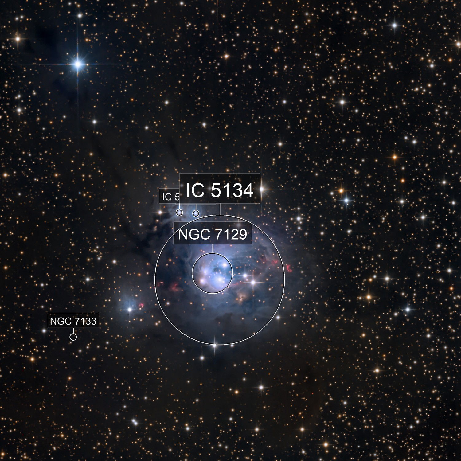 Carving a Cave: NGC 7129