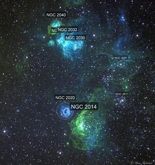 NGC2014, NGC2020, NGC2021, NGC2032, NGC2035 and NGC2040 within the Large Magellanic Cloud