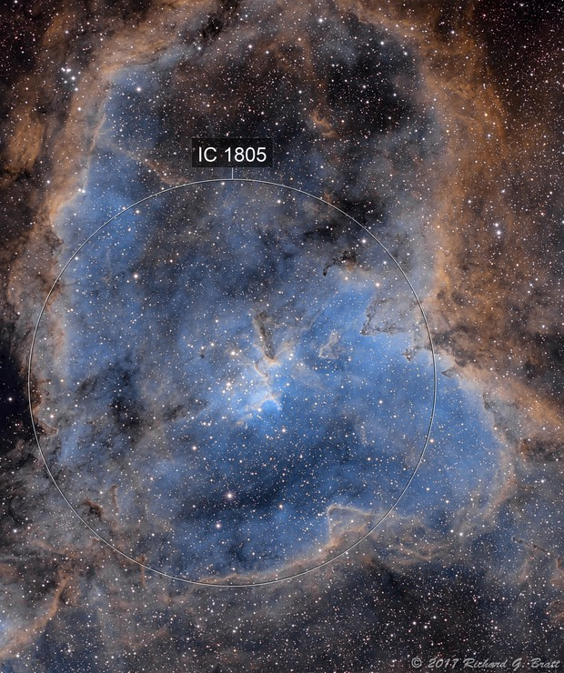 IC1805 - Heart Nebula in SHO (3 data sets)