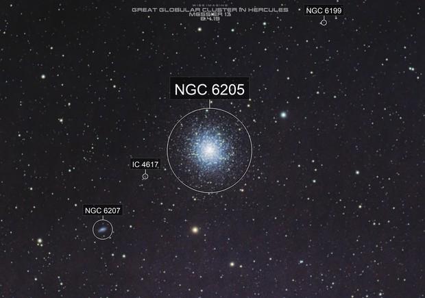 Great Globular Cluster in Hercules, M13, Cropped FOV, 06-04-2019