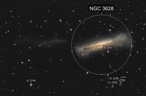 NGC 3628 and tidal tail