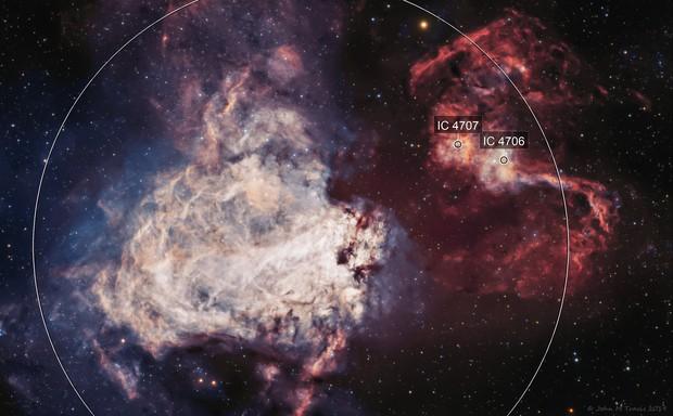 M17 Omega Nebula BI Color RGB Stars