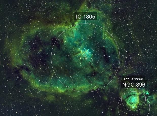 IC 1805 - Heart Nebula - SHO - Esprit 80 - ASI1600MM - Wide Field