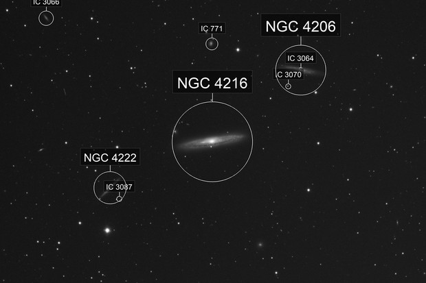 "NGC 4222, 4216, 4206 - C11 - HyperStar - Asi 183mm-C - Live Stacking - 120 x 30"""