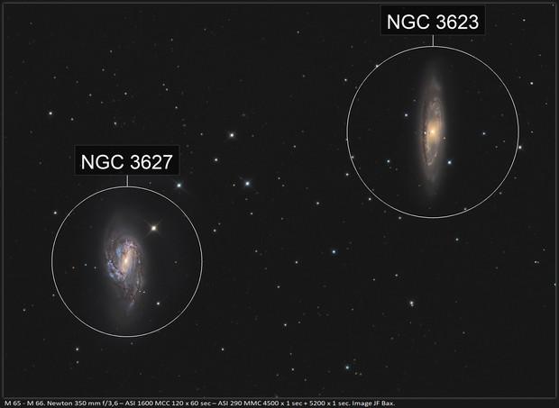 M 65 - M 66 couple de galaxies dans le Lion