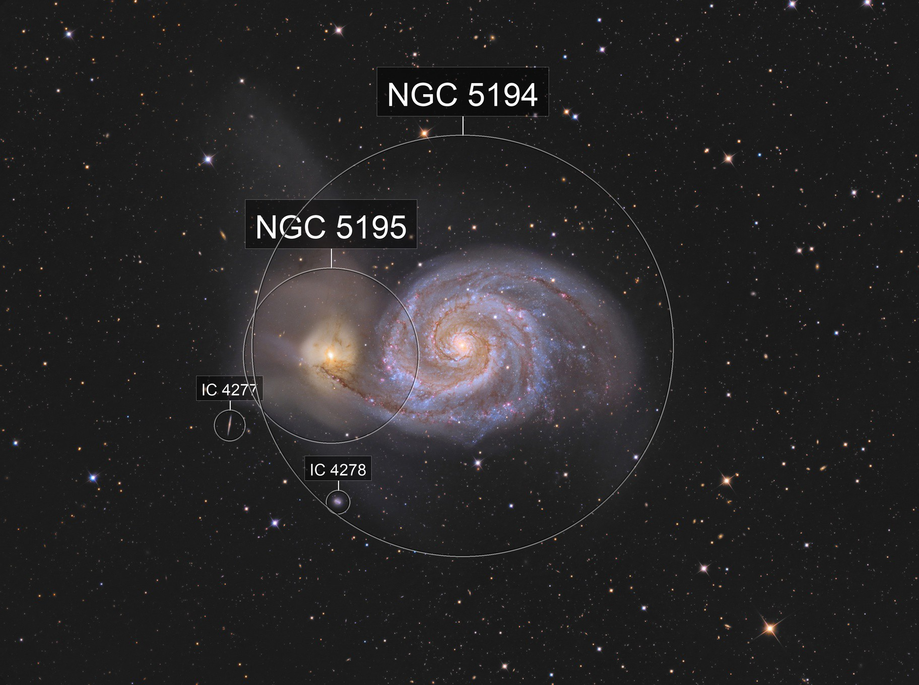M 51 - The Whirlpool Galaxy with C2PU T 1000