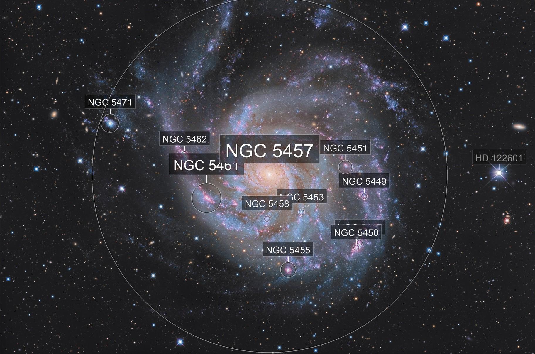 M 101 - Pinwheel Galaxy. High resolution and deep field with C2PU T 1000.