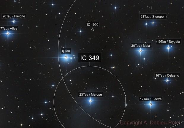 Les Pléiades, M45, Maia nebula, NGC 1432