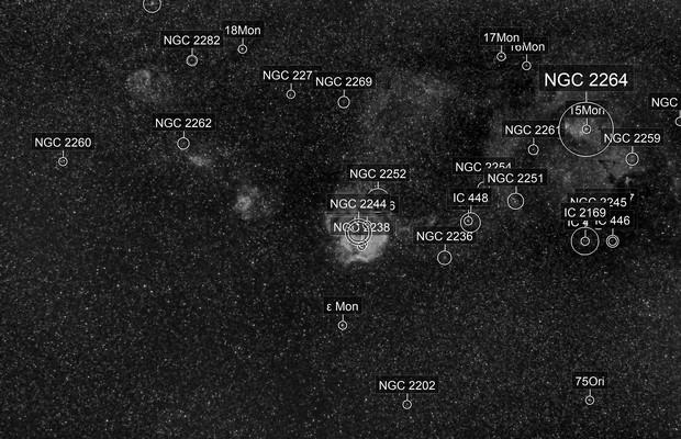 Rosette Nebula, Cone Nebula, and Friends at 85mm in Ha