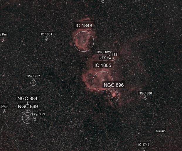 Heart and Soul Nebulas Widefield in HOO