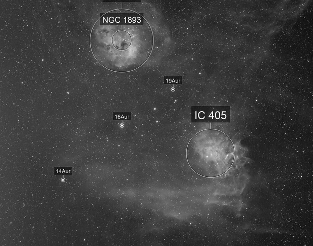 Flaming Star and Tadpole -- IC 405 and IC 410