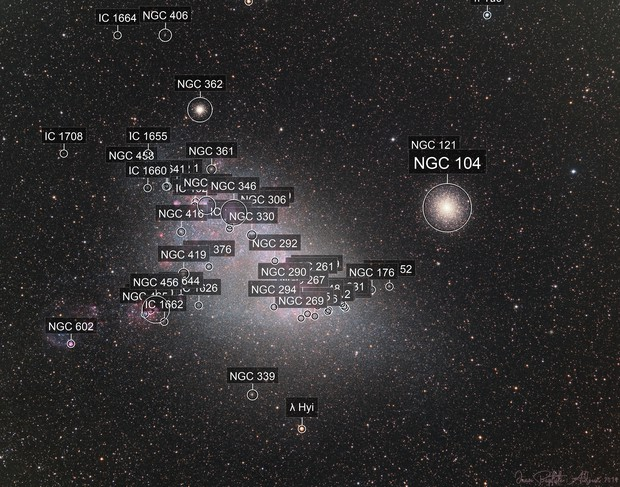 Small Magellanic Cloud & 47 Toucanae (LRGB-Ha-OIII)