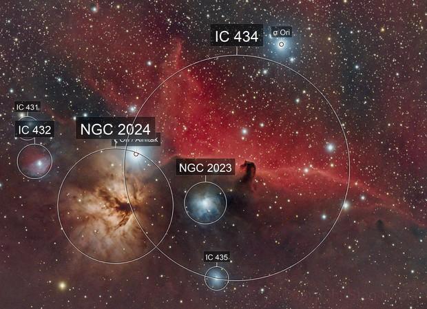 Horsehead & Flame nebula