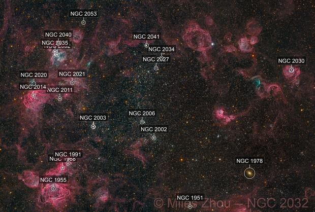 NGC 2032 & Vicinity (Two Panels)