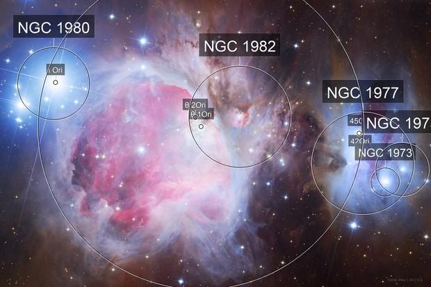 M42, M43, NGC1973, NGC1975, NGC1977 the Great  Orion Nebula