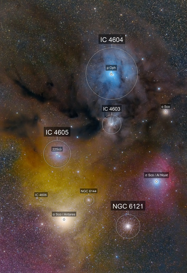Rho Ophiuchi and Antares Area