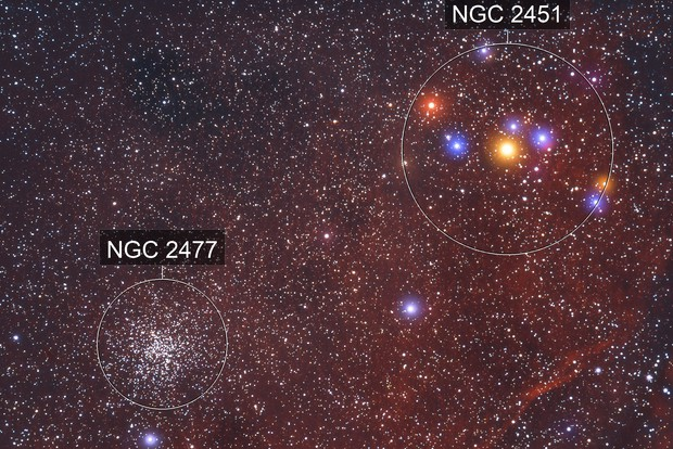 NGC 2477 & 2451 - A Pair of Star Clusters in Puppis