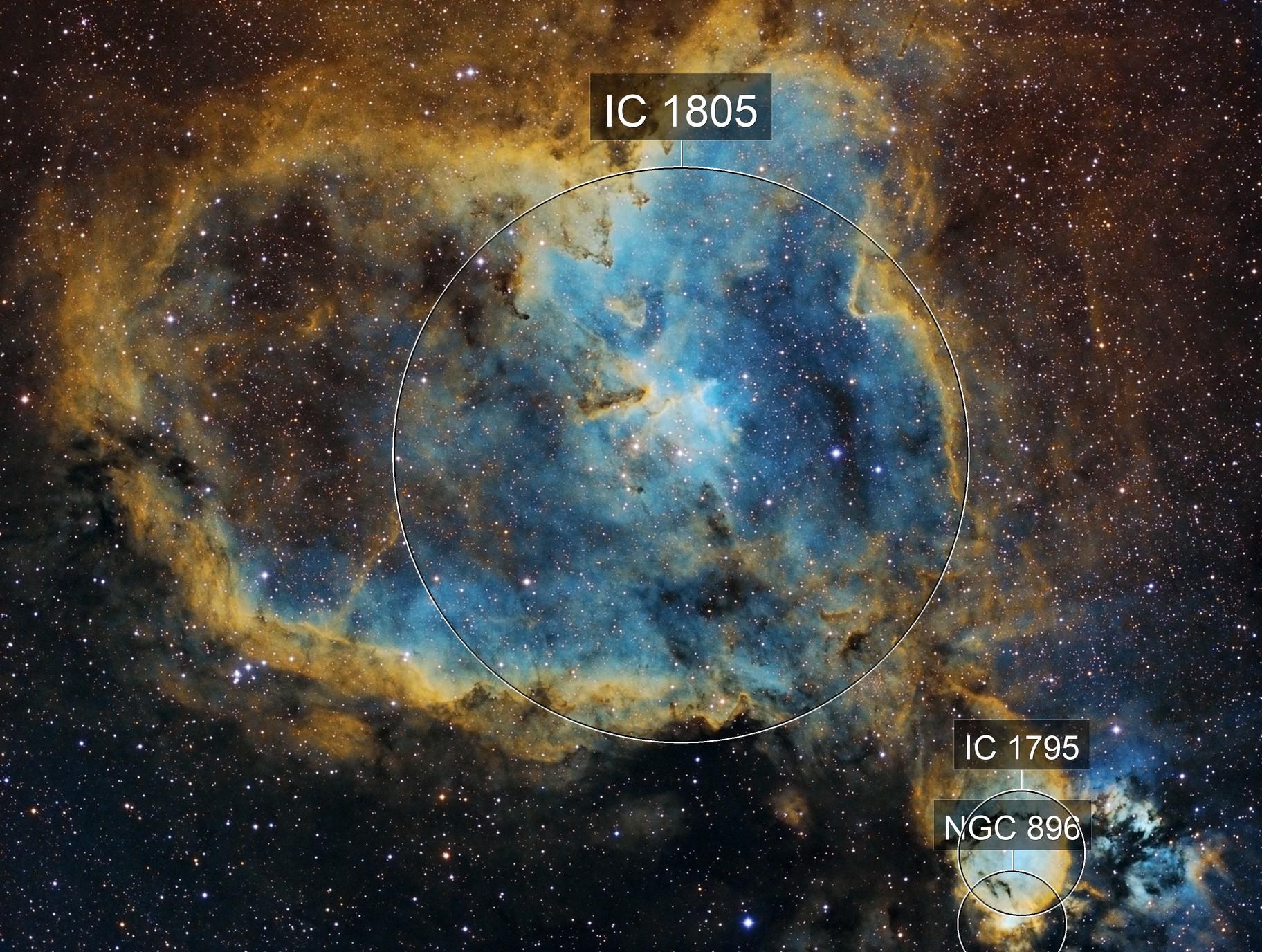The Heart Nebula (IC 1805) in Hubble Palette (SHO)