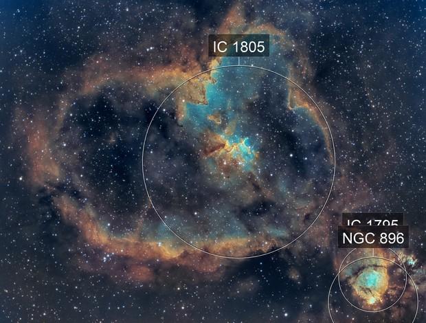 The Heart Nebula (IC 1805) in SHO