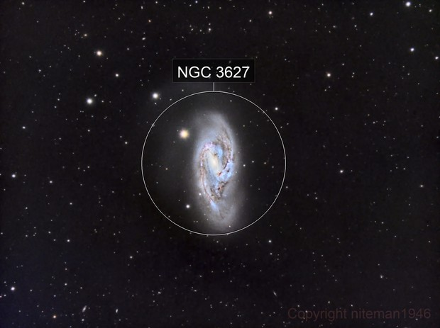M66 Distorted Spiral Galaxy