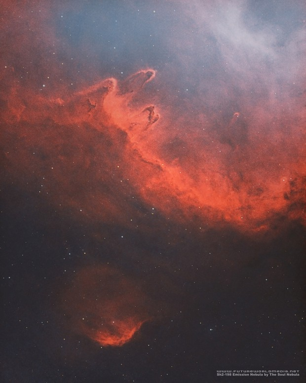 Sh2-198 Emission Nebula Off of the Soul in HOO