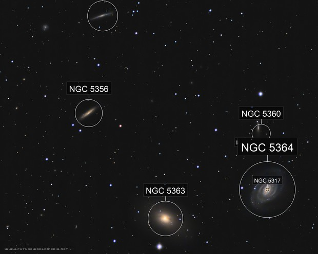 NGC 5363 and 5364 Galaxy Group in a White Zone