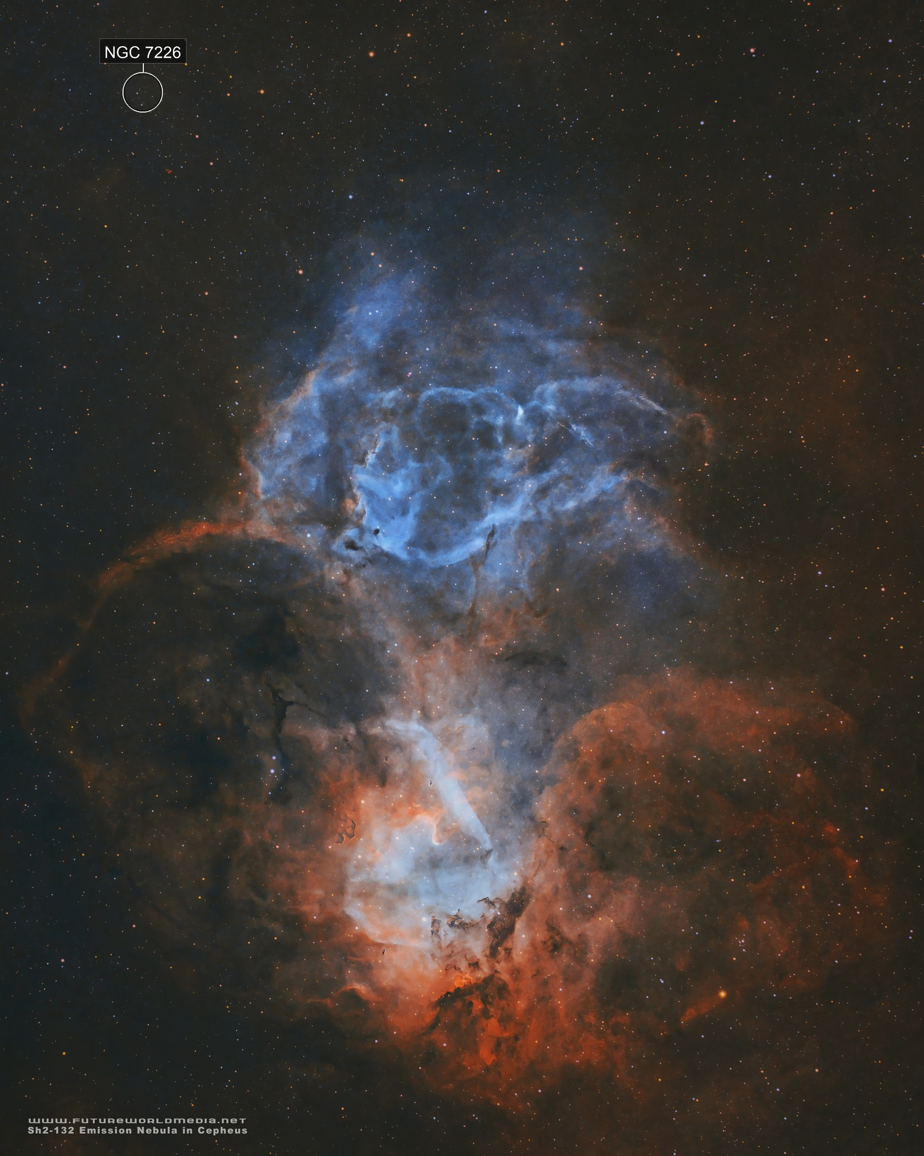 Sh2-132 • The Lion Nebula in HOO
