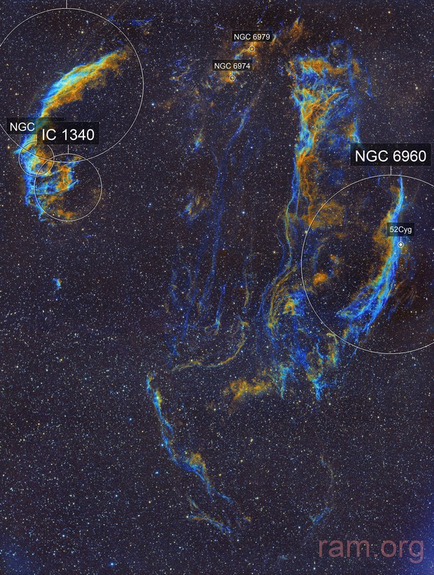 Veil nebula - West C34/Ced182a/NGC6960/LBN191/PGC3517684 and East C33/Ced182b/IC1340/NGC6992/NGC6995 (c-sho) two panel mosaic