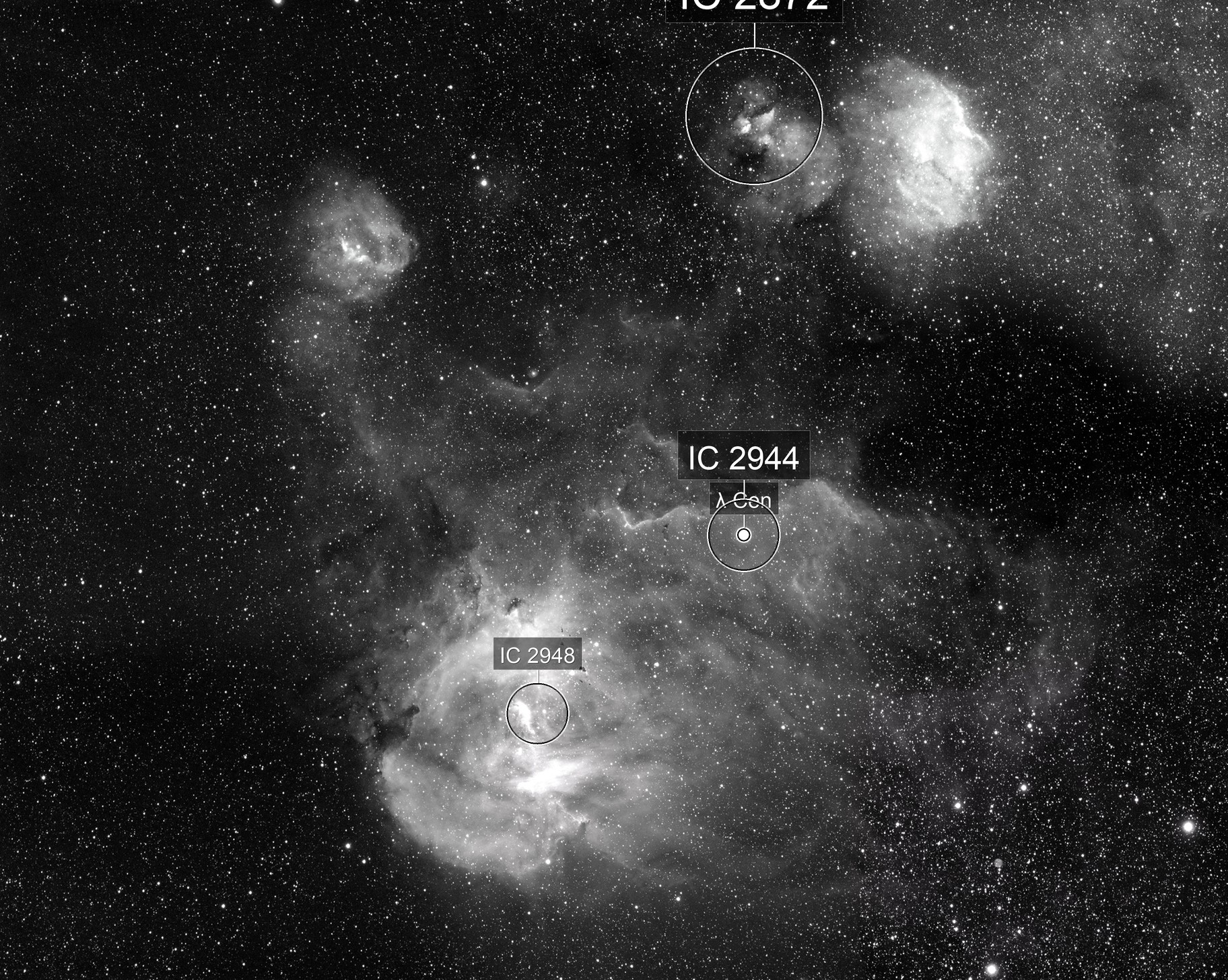 IC 2944 - The Running Chicken - 9 Image Mosaic in OIII