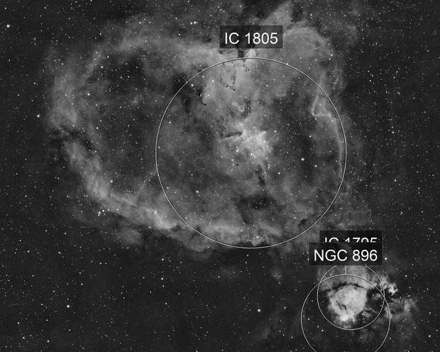 IC1805 Heart nebula 2 pane mosaic in Ha