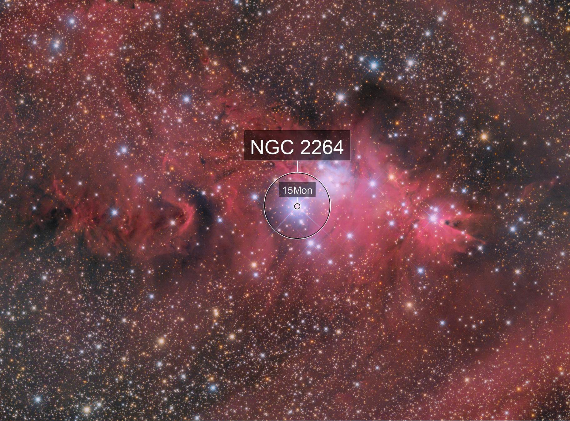 NGC 2264 and Cone Nebula LRGBHa final version