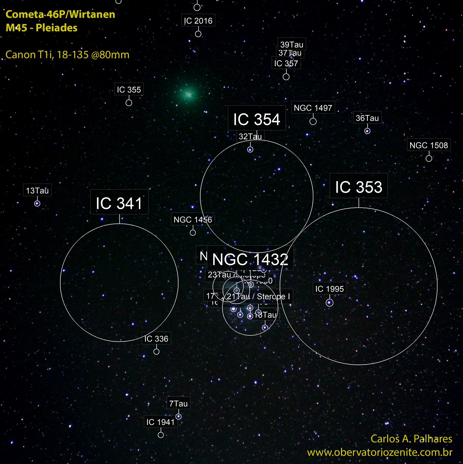 Comet 46P Wirtanen and M45 Pleiades