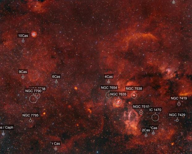 Sh2-170 Small Rosetta-N., Abell85 (CTB1, LBN576), M52, NGC7635 Bubble-N., Sh2-157 Lobster-N., Sh2-161, Sh2-155 Cave-N.