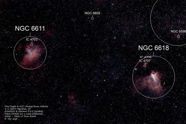 M16 Eagle & M17 Omega Nebulas
