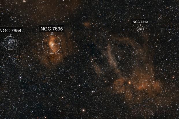 NGC 7635 & SH 2-157 (HOO)