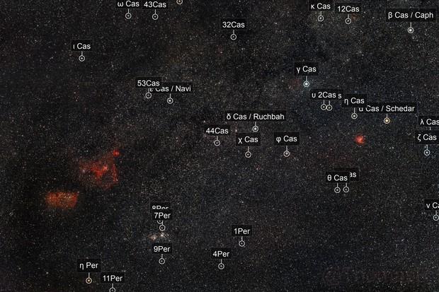 Cassiopeia: Open Clusters & Nebulas