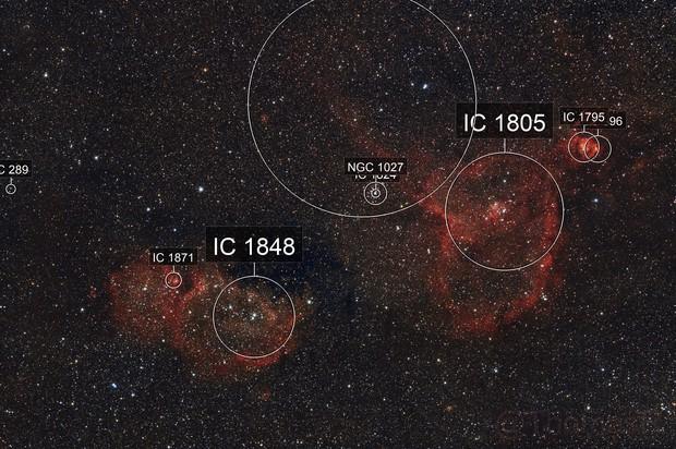 IC 1805 Heart Nebula & IC 1848 Soul Nebula