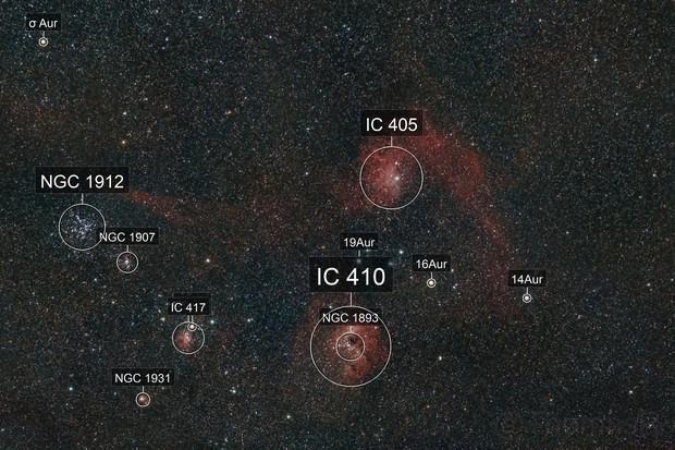 IC 405 Flaming Star Nebula & IC 410 Tadpole Nebula