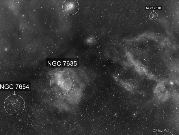 NGC7635 with a small PN in Ha