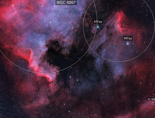 Four Panel mosaic Ha O3 Bicolor with LRGB stars of NGC7000
