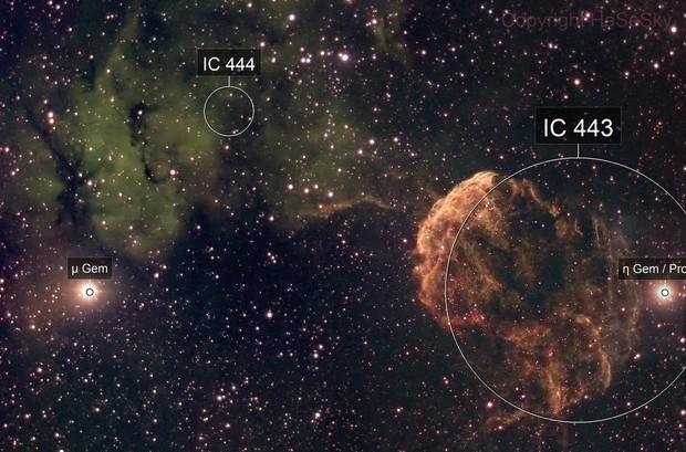 IC444 and IC443 (Jellyfish Nebula) in narrowband (SHO)